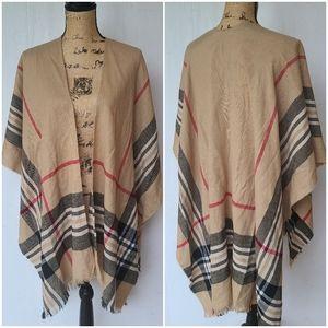 CHARTER CLUB • tan plaid cardigan shawl kimono